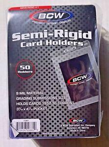 (50) BCW Semi Rigid Card Holder # 1 PSA BGS Grading Submission Card Holder