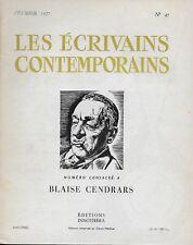LES ECRIVAINS CONTEMPORAINS N° 27 -1957- BLAISE CENDRARS - LITTERATURE