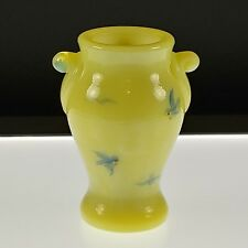 IVORY Handpainted Birds Mini VASE BOYD's ART GLASS 1st 5 Years Diamond Logo NOS