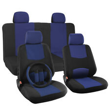 Car Seat Cover Solid Blue 17pc Set for Auto Steering Wheel/Belt Pad/Head Rest (Fits: Dodge Stealth)