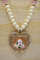 1928 Signed Necklace Pink Heart Roses Rhinestone Crystal Faux Pearl Vintage Bin7