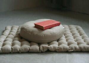Meditation Set Zafu & Zabuton Buckwheat hulls Meditation pillow cushion Linen