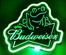 Sb012 Budweiser Frog Beer Bar Display Neon Light 3d Acrylic Sign Gift New 11x11