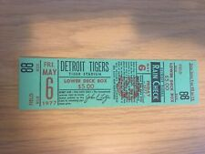 Detroit Tigers Full Unused Season Ticket dated May 6th, 1977