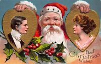 Romantic Christmas~Santa Claus~Gold Hearts with Man & Lady~Postcard-Unused-a619