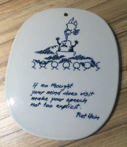 A rare Royal Copenhagen 'Piet Hein' plaque in written in English, Danish Design.
