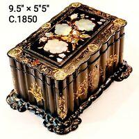 19th Century Victorian Paper Mache Abolone Shell Marquetry Tea Caddy