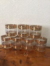 lot 7 Vintage cocktail Rocks lowball glasses gold Band Geometric glass barware