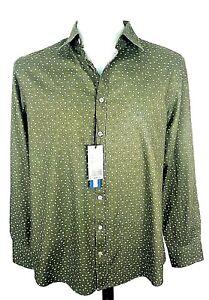 "CHARLES TYRWHITT WEEKEND Mens Green L/S SHIRT Evening Xtra Slim - L (M) -44""-£59"
