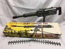 HTF Vtg '60s Toy Battery Operated Tin Army MACHINE GUN Ahi Japan w BOX TN Nomura