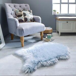 Anja Helsinki Faux Fur Frosted Tip Sheepskin Teal Blue Rug 60cm by 90cm