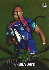 ✺Signed✺ 2011 NEWCASTLE KNIGHTS NRL Card AKUILA UATE Daily Telegraph