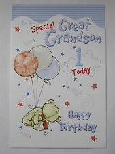 LOVELY COLOURFUL TO A SPECIAL GREAT GRANDSON 1 TODAY 1ST BIRTHDAY GREETING CARD