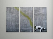 "Banksy Pissing Dog Stretched Canvas Triptych Print 48""x30"". BONUS WALL DECAL!"