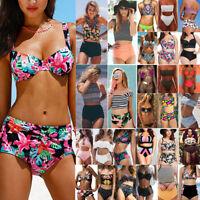 Plus Size Women High Waisted Bikini Set Push Up Padded Swimsuit Swimwear Bathing
