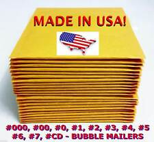 Kraft Yellow Bubble Mailers Padded Envelopes #0 #1 #2 #3 #4 #5 #6 #7 #00 #000 CD