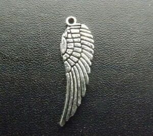 30mm Wing Pendant Tibetan Antique Silver Tone Jewellery Pack of 10