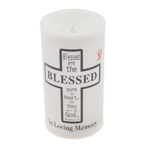 Memorial Graveside Flickering Candle with Verse Blessed in loving Memory