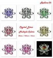 "Decorative Crystal Lotus Paperweight Decor Multiple Colors (3"" / 4"" / 5"")"