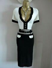 NEW Karen Millen 2 Size 10 12 COLOURBLOCK FINE KNIT JUMPER DRESS