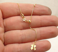 """Solid Adjustable Venetian Box Chain Necklace Real 14K Yellow Gold 16"""" ~ 18"""""""