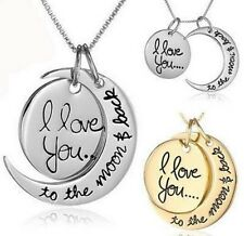 I Love You To The Moon And Back Necklace (Silver)