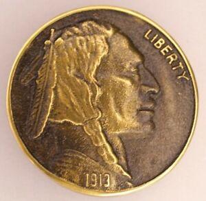 Vintage Indian Head Nickel Coin 1913 Belt Buckle