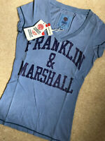 FRANKLIN & MARSHALL WOMEN'S BLUE LOGO GRAPHIC T-SHIRT TOP - XXS - NEW & TAGS