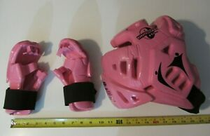 MMA Fighting Warrior Macho Large Youth Pink HeadGear Gloves Padding Karate Spar