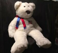 Ty LIBEARTY  28 INCH LARGE  Bear White With Flag And Ribbon