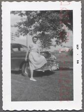 Vintage Car Photo Pretty Girl w/ 1949 Chrysler Automobile 740961