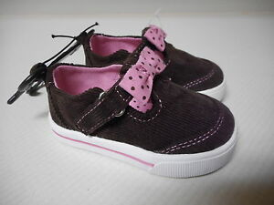Infant Girls Garanimals Brown & Pink Cord Shoes Size 3 NEW
