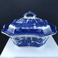 1920's Allerton's Flow Blue Willow Scalloped Tall Covered Tureen Vegetable Dish