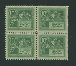 1908 United States Special Delivery Stamp #E7 Mint Never Hinged OG Block of 4