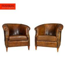 WONDERFUL LATE 20TH CENTURY PAIR OF DUTCH SHEEPSKIN LEATHER CLUB CHAIRS
