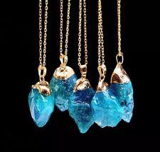 CRISTALLO di quarzo naturale blu collana pendente UK Venditore