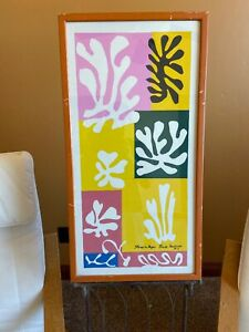 "Vtg Henri Matisse Fleurs De Neige Lithograph Framed Wall Hanging Fine Art 15x29"""