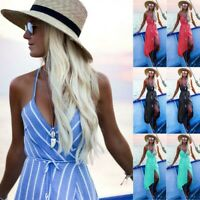 UK Womens Boho Maxi Dress Evening Cocktail Party Beach Dresses Summer Sundress