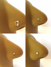 4 Sterling Silver Nose L Shape Bent Thin Pins Studs Dangle Flower 22 gauge 22g