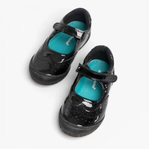 GIRLS HUSH PUPPIES RINA BLACK LEATHER  SCHOOL SHOES NEW IN BOX UK 12.5 W EUR 31
