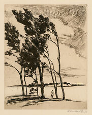 CHRISTIAN DULL, 'WEST WIND', signed etching, c. 1940, AAA.