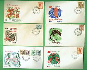 #SS.   #5.  SIX  1960s  ROYAL / WCS ENVELOPE COVERS - AUSTRALIA ANIMALS & PLANTS