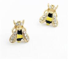New Fashion Enamel Rhinestone Cute Honey Bee Earrings Charm Gold PLated Ear Stud