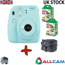 Bundle: Fuji Instax Mini 9 Ice Blue Instant Film Camera + Case + 40 Shots