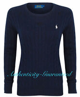 Ralph Lauren Women's Ladies Cable Knit Cotton Crew Jumper Navy XS - XL RRP £120