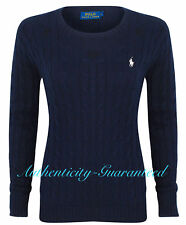 Womens Polo Ralph Lauren Ladies Crew Neck Julianna Cable Knit Jumper Sweater S Navy