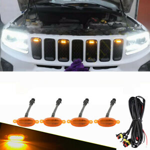 For Jeep Grand Cherokee 2002-2021 Front Grille LED Light Raptor Style Grill 4Pcs
