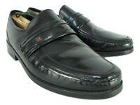 CLARKS Black Leather Slip On Penny Loafers Mens UK 9.5 EE Extra Wide EU 44
