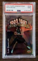 Tim Duncan Spurs 1997 Topps Generations #G28 Die Cut Rookie Card  PSA 9 MINT HOF