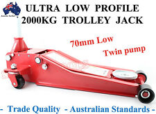 ULTRA LOW PROFILE 70mm TROLLEY JACK 2000KG TWIN PUMP  HEAVY DUTY SPECIAL